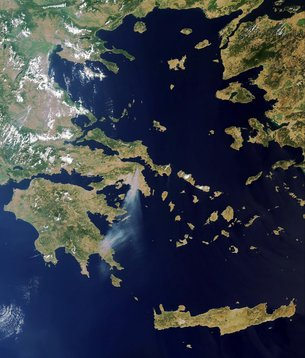 greek fires seen from space