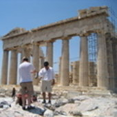 Taking measurements at the Parthenon