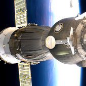 Soyuz spacecraft docked to Station