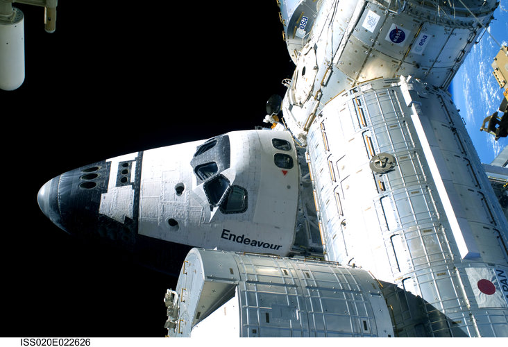 Space Shuttle Endeavour is docked with the ISS during STS-127