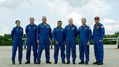 STS-128 crewmembers arrive at KSC for TDCT
