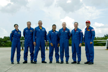 STS-128 arrive at NASA's Kennedy Space Center for launch dress rehearsal