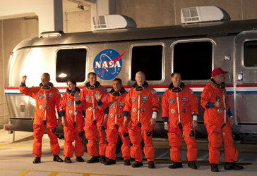STS-128 crew during walkout