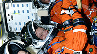 STS-128 crewmembers complete simulated launch countdown