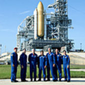 STS-128 crew during preflight training at KSC