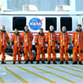 STS-128 crew on way to launch pad for launch dress rehearsal