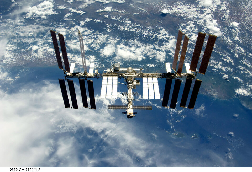 A view of the International Space Station in July