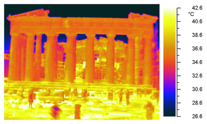 Thermal image of the Parthenon