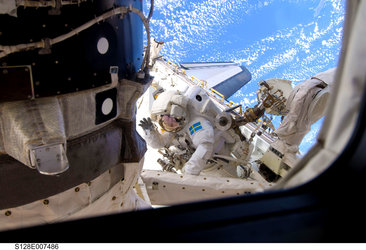 Christer Fuglesang during the second STS-128 mission spacewalk