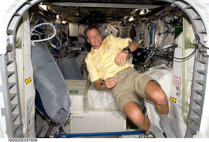 ESA astronaut Christer Fuglesang inside the Columbus laboratory