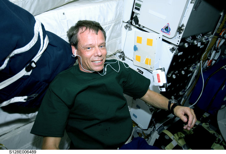 ESA astronaut Christer Fuglesang on Shuttle middeck