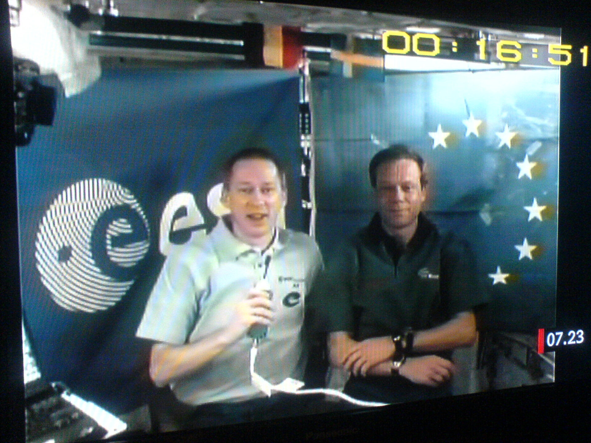 ESA astronauts Christer Fuglesang and Frank De Winne participate in a television interview