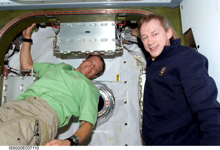 ESA astronauts Frank De Winne and Christer Fuglesang inside the ISS Harmony module