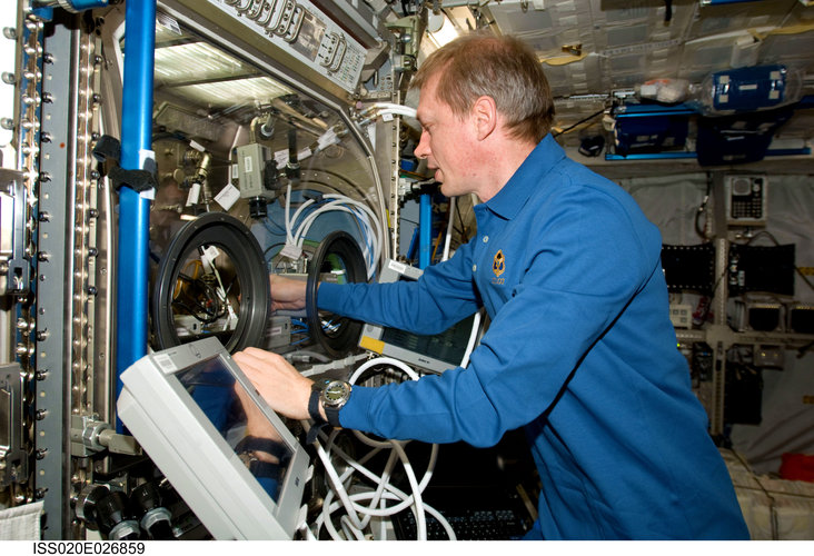Frank De Winne works with the InSPACE experiment in the Microgravity Science Glovebox