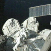 Fuglesang exits Quest Airlock at start of spacewalk