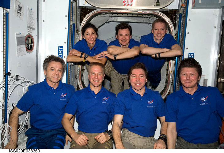 ISS Expedition 20 crewmembers pose for a portrait