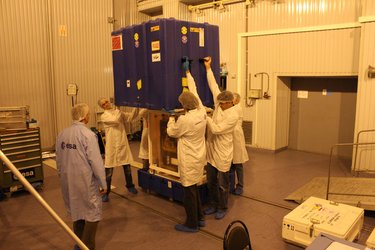 Opening of the Proba-2 satellite container in the cleanroom