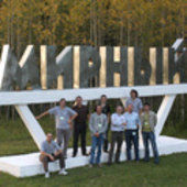 Proba-2 team in front of the 'Mirny' monument