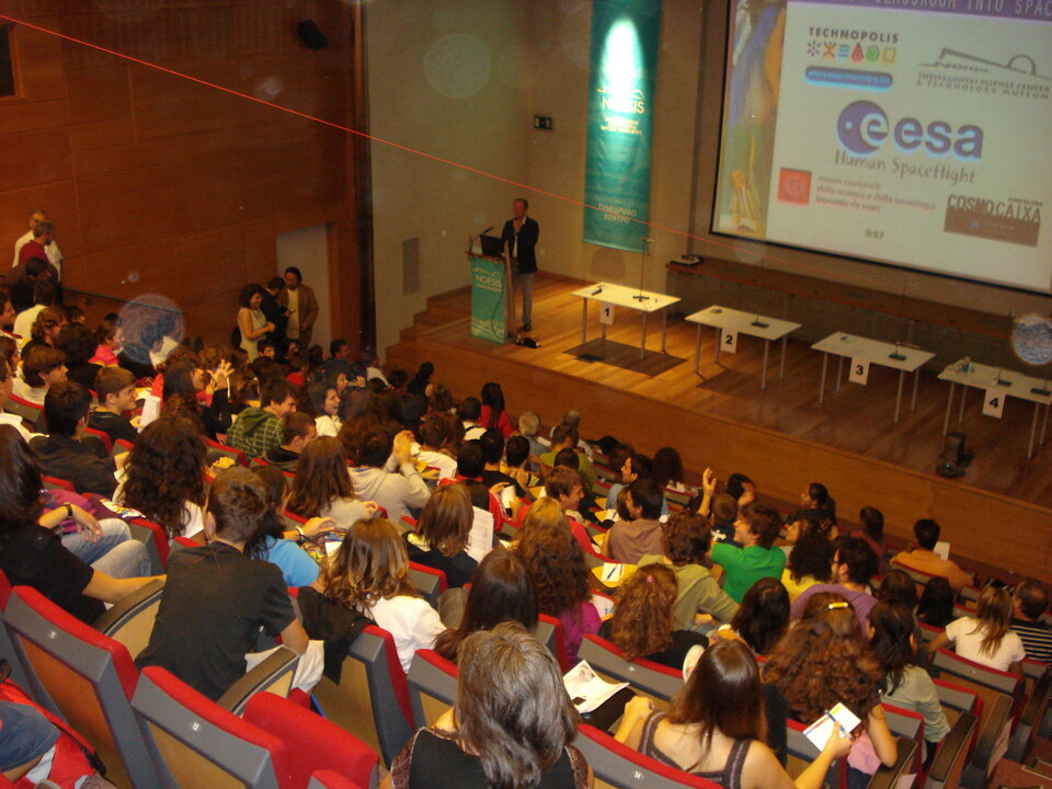 Schoolchildren joined the event from four European cities including Thessaloniki, Greece