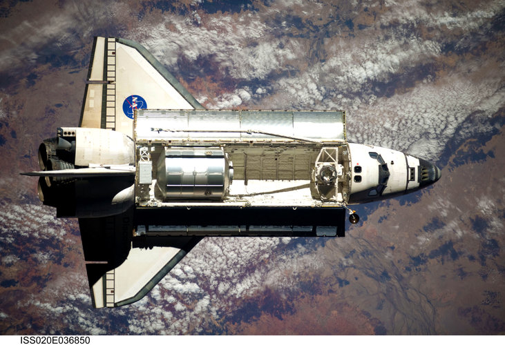 Space Shuttle Discovery approaches ISS for rendezvous and docking
