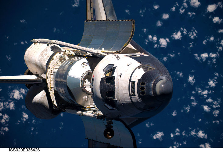 Space Shuttle Discovery before docking with the ISS