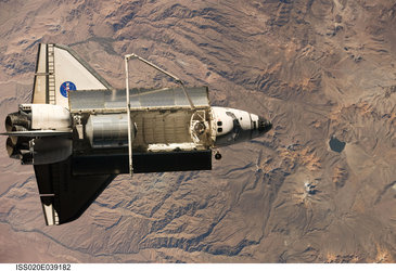 Space Shuttle Discovery during the STS-128 mission shortly after undocking from the ISS
