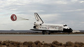 Discovery lands at the end of the STS-128 mission