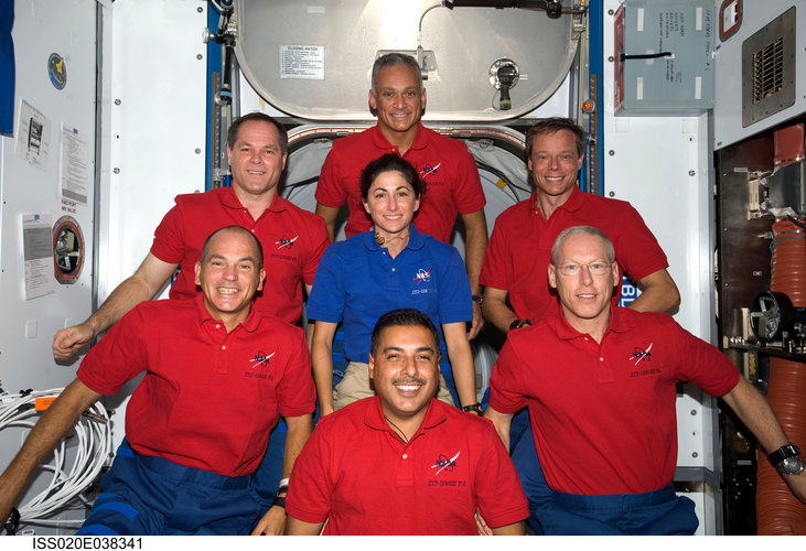 STS-128 crew portrait, including Nicole Stott who joined the Expedition 20 crew shortly after arrival at the ISS