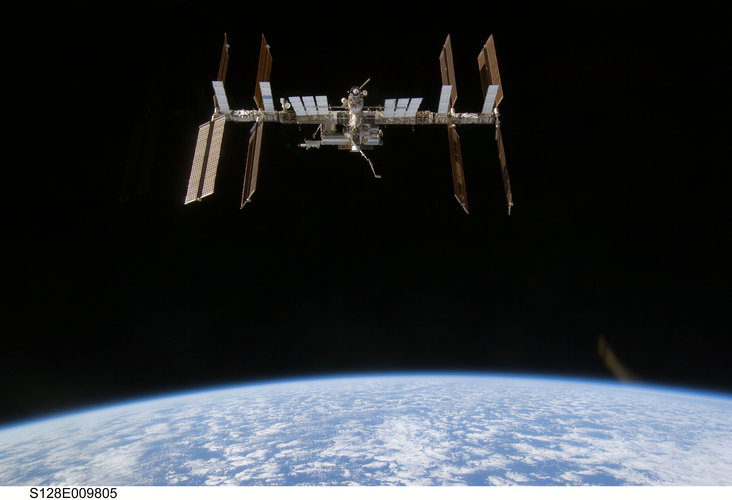 The International Space Station is seen from Space Shuttle Discovery