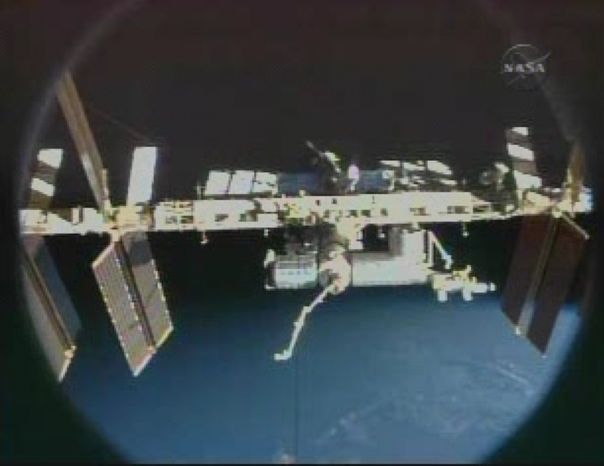 View of the International Space Station following undocking of Discovery