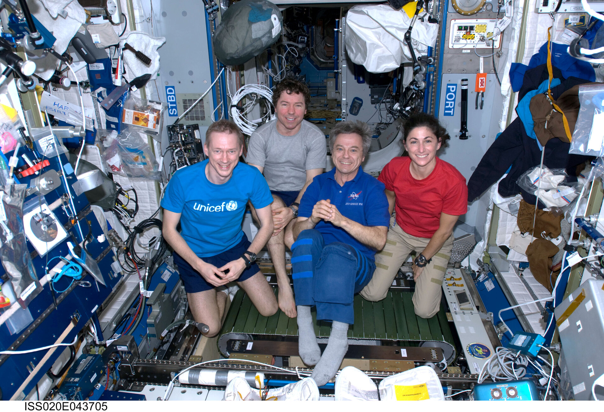 Expedition 20 crewmembers with newly installed COLBERT treadmill