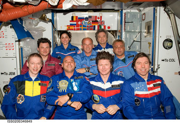 Expedtion 20 and 21 crewmembers and spaceflight participant Guy Laliberte