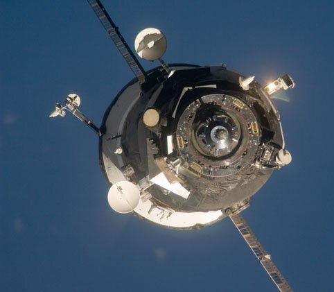 A Progress spacecraft delivers new supplies to the ISS