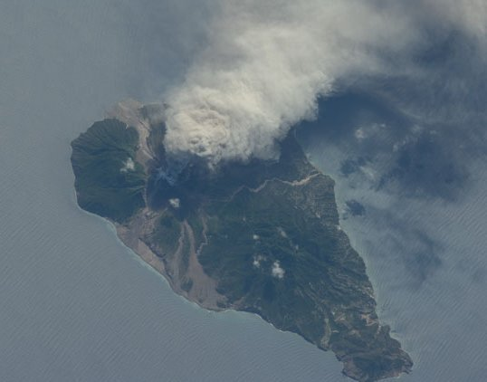 The active volcano Soufriere Hills on Montserrat Island, photographed from the ISS on 11 October