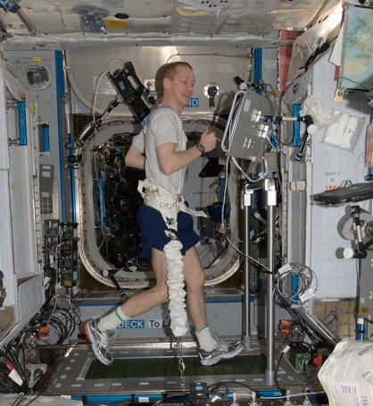 Exercising on the COLBERT treadmill in the Harmony module