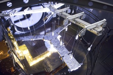 MIRAS inside ESA's Large Space Simulator undergoing thermal-vacuum tests