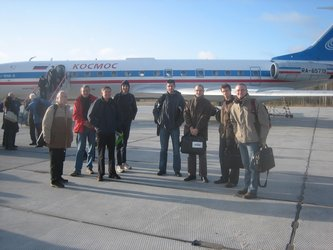 Proba-2 team arrival at Plesetsk Cosmodrome