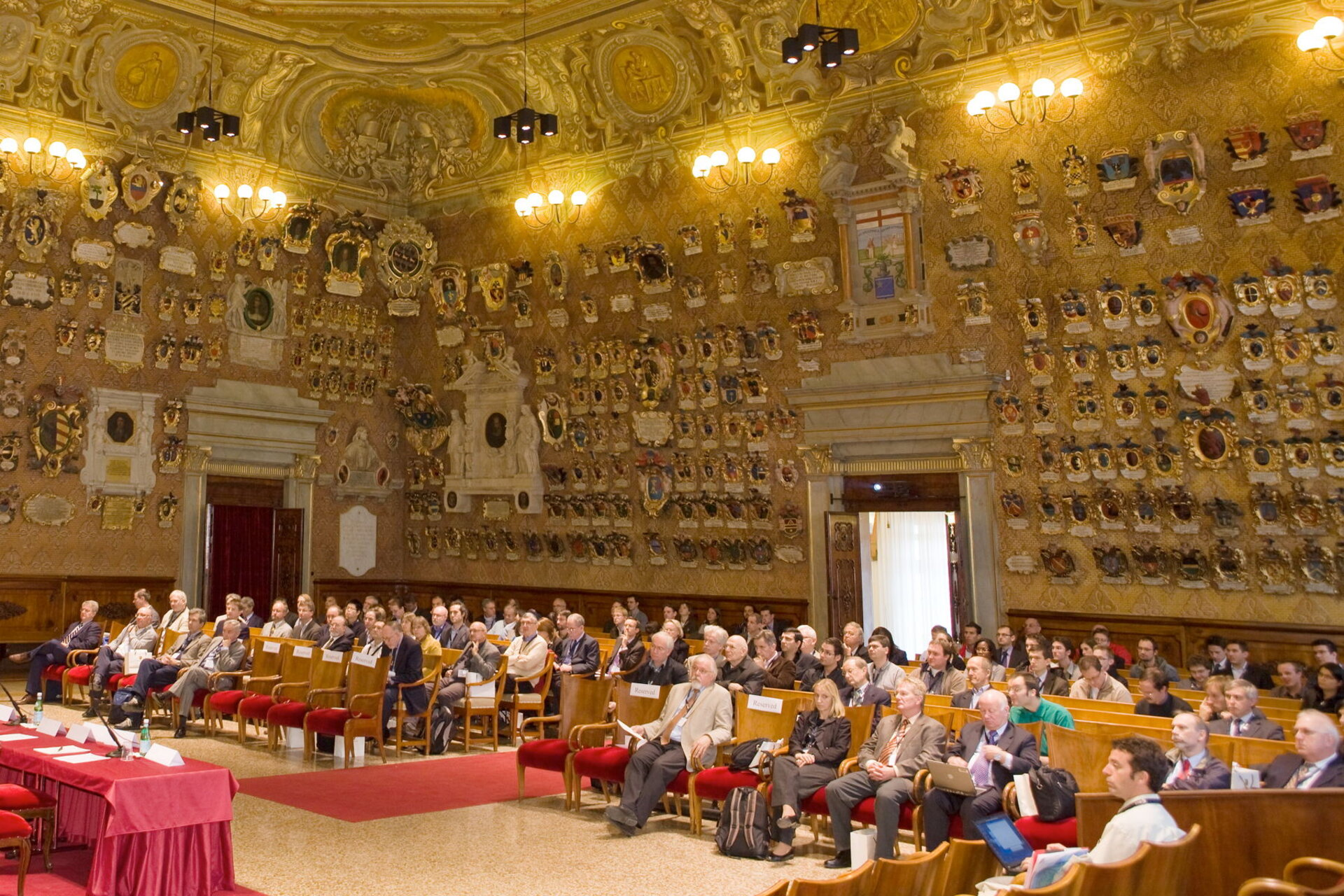 Audience at opening ceremony in the Aula Magna