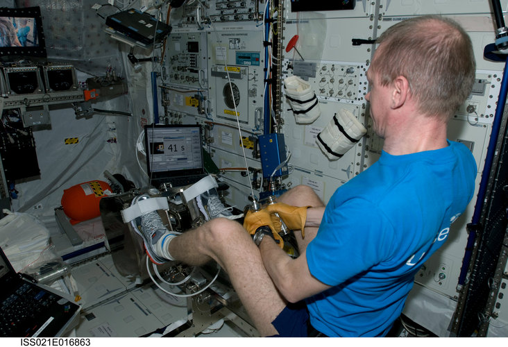 Frank De Winne performs checkout of the ESA Flywheel Exercise Device