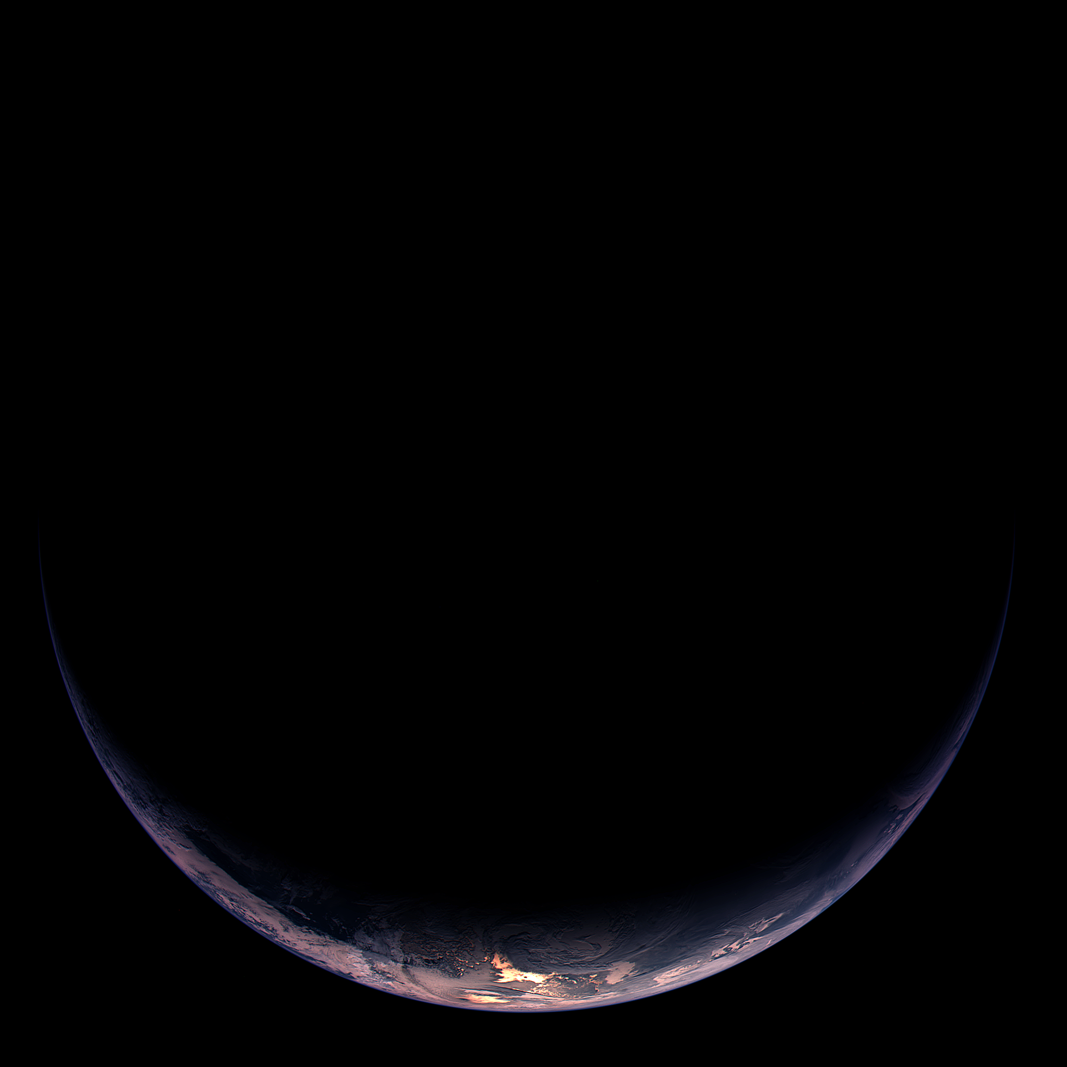 Esa Illuminated Crescent Of Earth Showing Part Of South