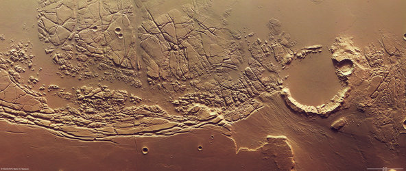 Kasei Valles and Sacra Fossae. North is to the right