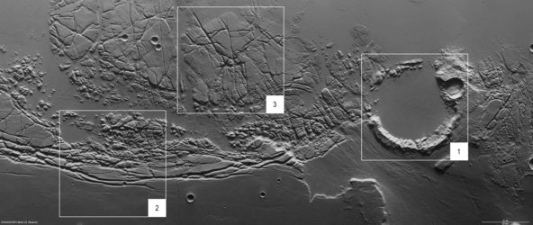 Kasei Valles and Sacra Fossae, annotated nadir view