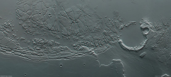 Kasei Valles and Sacra Fossae in 3D