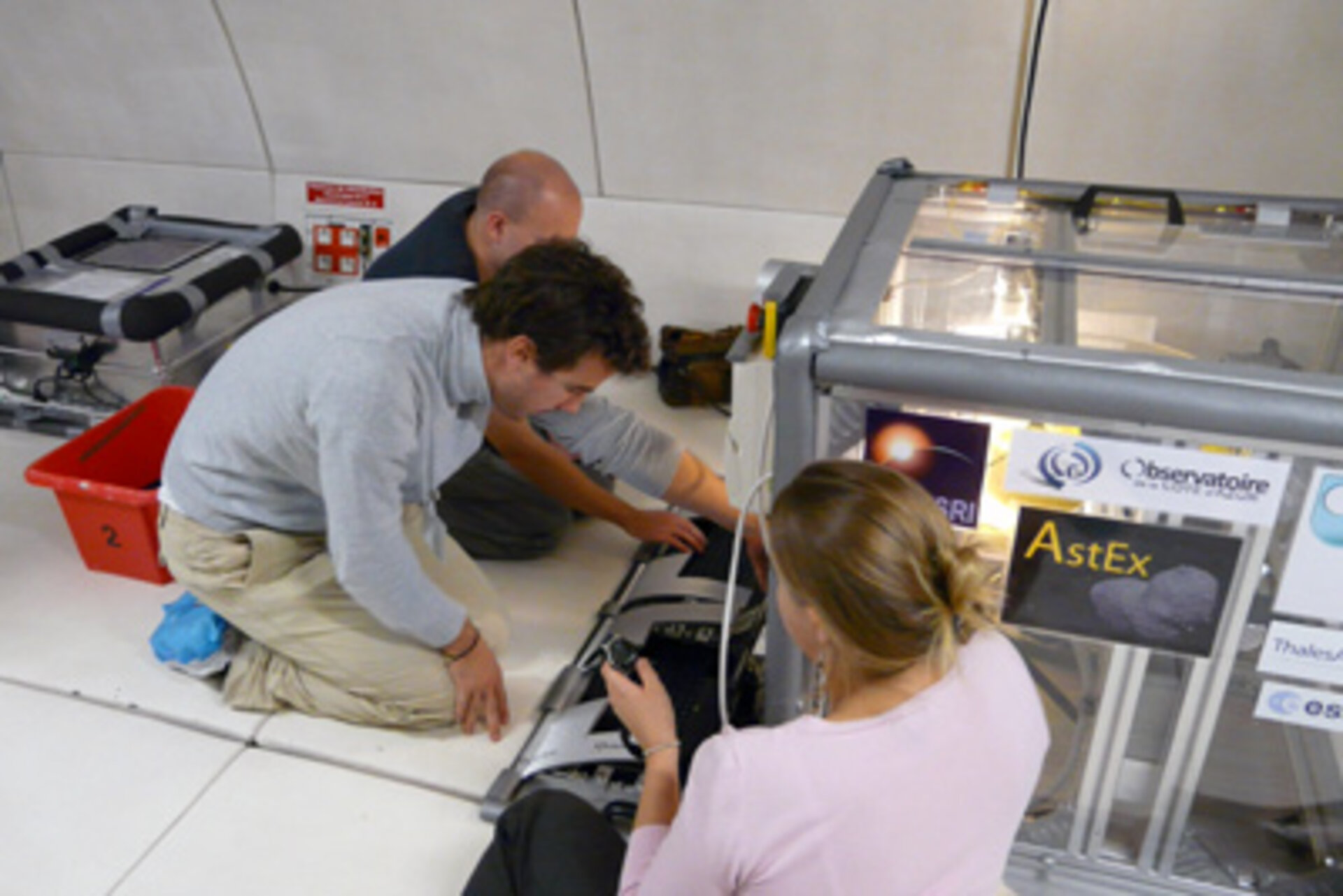 The AstEx team setting their experiment