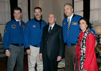 Astronauts Nespoli, Altman and Massimino with the President of the Republic of Italy