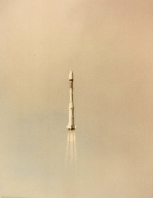 Europe's first Ariane, in flight, shortly after launch, 1979