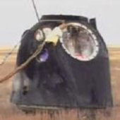 Soyuz capsule on landing zone
