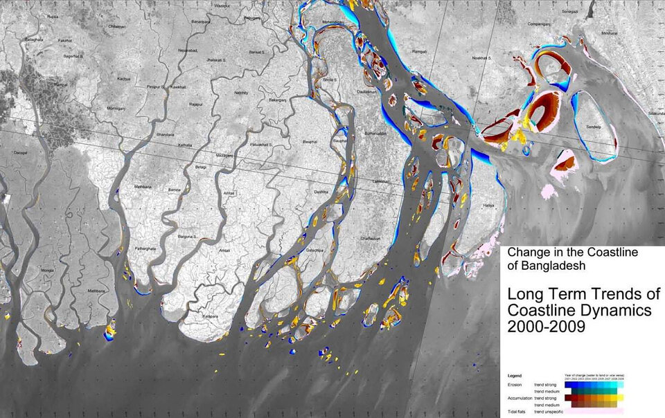 Trends of erosion in Bangladesh