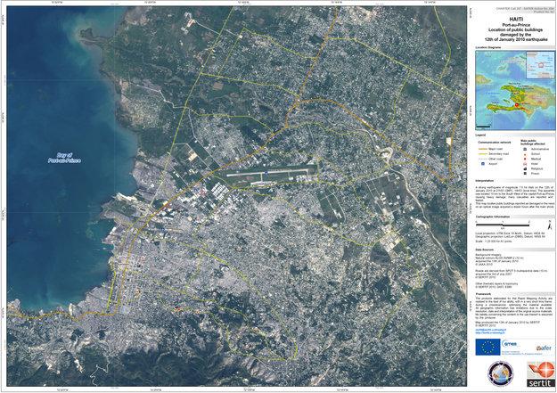 First satellite map of haiti earthquake observing the earth our first satellite map of haiti earthquake gumiabroncs Choice Image
