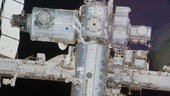 A close-up view of a portion of the ISS